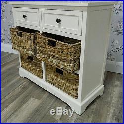 Ivory Storage Cabinet Unit Chest Wicker Baskets Shabby Vintage Chic Home Decor