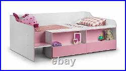 Julian Bowen Stella Low Sleeper Storage Childrens Single 90cm 3FT Bed Pink