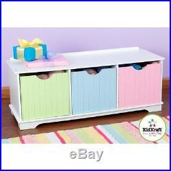Kidkraft Nantucket Storage Bench Pastel Childrens Toy Bedroom Organizer