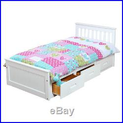 Kids Bed Frame Children Furniture Bedroom Wood Slat Single Underbed Storage