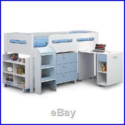 Kids Blue + White Julian Bowen Kimbo Cabin Bunk Mid Sleeper Bed + Storage + Desk