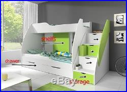 Kids Bunk bed MARTIN bedroom with drawer and storage. FREE QUICK DELIVERY
