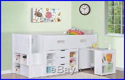 Kids Cabin Bed Single Storage Bed Sleep Station Mid Sleeper Childrens Bed 3FT