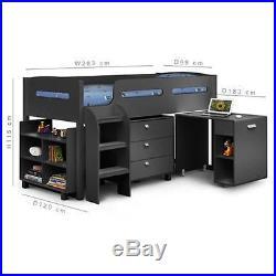 Kids Dark Grey Julian Bowen Kimbo Cabin Bunk Mid Sleeper Bed + Storage + Desk