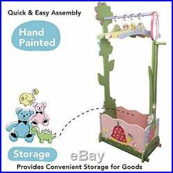 Kids Pink Magic Garden Wooden Dress Up Storage Station Set 4 Hangers Rail Rack