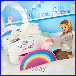 Kids Rainbow Unicorn Toddler Bed With Canopy And Storage Drawer Girls