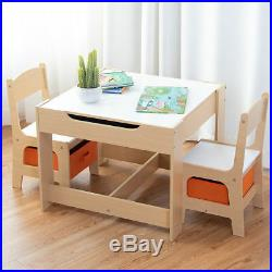 Kids Table&Chairs Set Double Side Tabletop Desk Wood Furniture with Storage Box