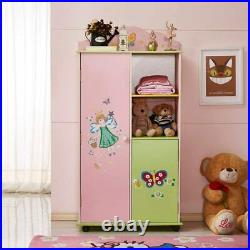 Kids Wooden Wardrobe Bedroom Furniture Clothes Hanging Shelf Toy Storage Cabinet