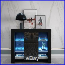 LED Black Sideboard Display Cabinet Cupboard Storage Organizer High Gloss Door