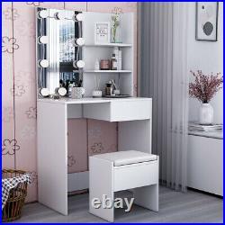 LED Dressing Table with Stool Set Corner Makeup Storage Mirror Dresser Bedroom