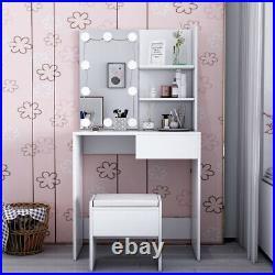 LED Light Dressing Table +Stool Set Corner Makeup Storage Mirror Dresser Bedroom