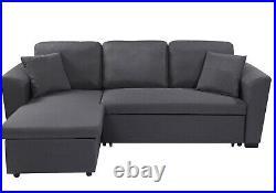 LEON 3 Seater L Shape Corner Sofabed Full Bed Grey Linen Lift Up Storage Area