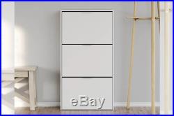 LINA Tall & Slim Shoe Cabinet 3 Tilt Drawer White Melamine Veneer 18 Pairs