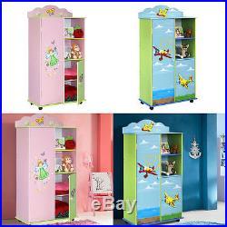 Large Children Kids Pink/blue Storage Cabinet Medium Wardrobe New Best Xmas Gift