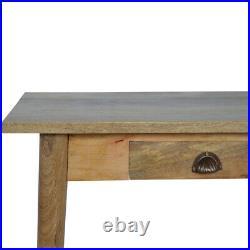 Large Desk Light Mango Wood Storage Drawers Brass Handles Mid-century Modern