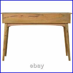 Large Desk Light Mango Wood Storage Drawers Brass Handles Scandinavian