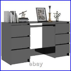 Large High Gloss Computer Office Desk Table Workstation With Storage 141x51x78cm