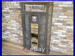 Large Industrial French Style Grey Metal Cabinet Storage Unit Cupboard Drawers