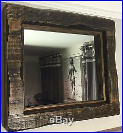 Large Mirror chunky rustic reclaimed timber wood furniture storage Dark oak