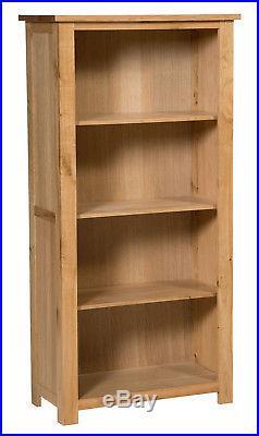 Large Oak Bookcase 4 Shelf Storage Tall Bookshelf Solid Wood Shelving Unit