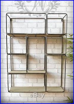 Large Retro Style Industrial Metal Shelf Storage Wall Unit Wood Rack Black