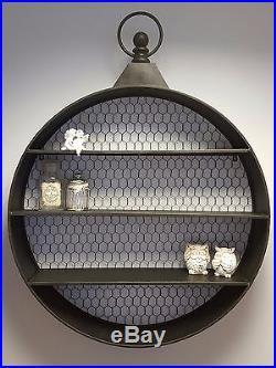 Large Round Wall Shelf Display Vintage Industrial Warehouse Style Storage Unit