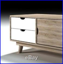 Large Vintage TV Stand Home Retro Cabinet White Grey Oak Side Board Storage Unit