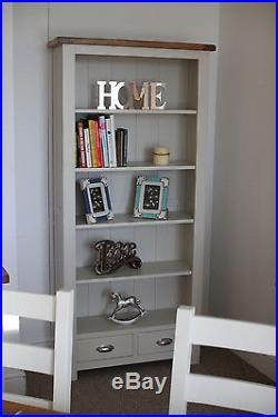 Large White Painted Oak Bookcase 5 Shelf Wooden Storage Tall Bookshelf