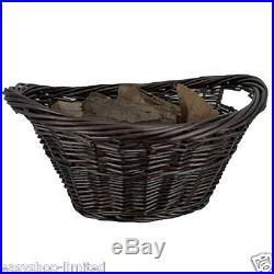 Large Wicker Oval Log Basket Storage Handles Willow Laundry Hamper