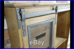 Large Wooden Industrial Wall Cabinet Unit Multi Drawers Metal Bathroom Storage