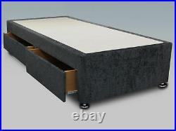 Lavish New 3ft Single Chenille Divan Bed Base In All Colours & Storage Options