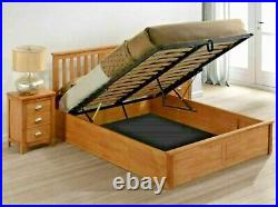 Lavish New Oak Finish Solid Wooden Ottoman/storage Bed Frame In King Size 5'ft