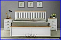 Lavish New Solid Wooden Ottoman Storage Bed Frame In King Size Whitefree P&p