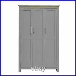 Lisbon 3 Door Triple Wardrobe In Grey Bedroom Furniture Storage Cupboard