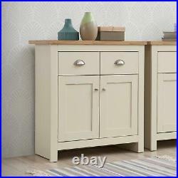 Lisbon Compact 2 Doors 2 Drawer Sideboard Storage Cabinet Cupboard Cream Oak