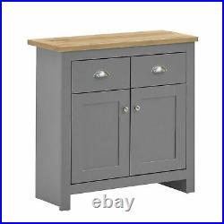 Lisbon Compact 2 Doors 2 Drawer Sideboard Storage Cabinet Cupboard Grey Oak