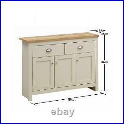 Lisbon Sideboard 3 Doors 2 Drawers Buffet Storage Cabinet Cupboard Cream Oak