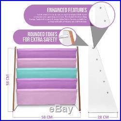 Livivo Childrens Pink Coloured Bright Sling Book Shelf Kids Bedroom Storage