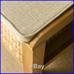 London Oak Hall Bench Solid Wood Hallway Shoe Storage Unit w Baskets & Cushion