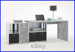 Luna Corner Grey Reversible Computer Desk Storage Drawer Office Furniture 2644