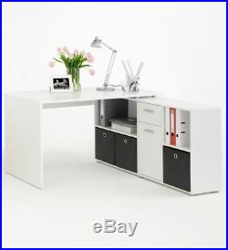 Luna Corner White Reversible Computer Desk Storage Drawer Office Furniture 2562