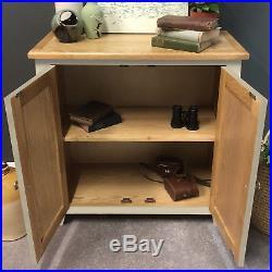 Lundey Painted Linen Cupboard Oak / Cream Storage Cabinet / Solid Wood Sideboard