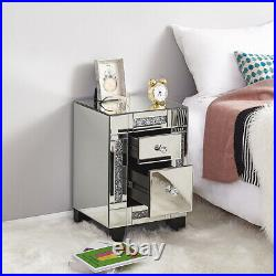 Luxury Crystal Mirrored Glass Bedside Table Storage Cabinet Chest of Drawers UK