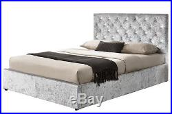 Luxury Diamante Storage Ottoman Bed Crushed Silver Velvet Fabric Double or King
