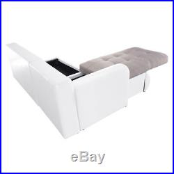 Luxury Fabric & Leather L-Shaped Corner Sofa Bed 3 Seater Modern Couch Storage