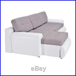 Luxury Fabric & Leather L-Shaped Corner Sofa Bed 3 Seater Sofabed Couch Storage