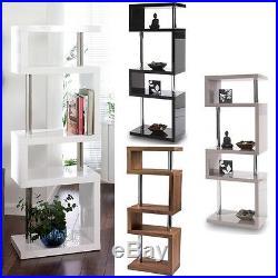 Luxury Tall Square Gloss Black, White, Grey And Walnut Shelving/storage Unit