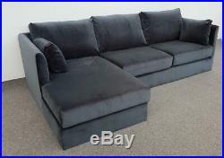 MADE. COM Milner LHF Corner Storage Sofa Bed Midnight Grey Velvet (080)