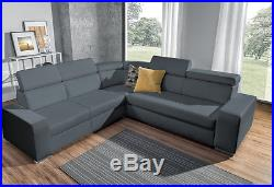 MASSIVE and LUXURY, Corner Sofa Bed with Storage, Top grade GREY Eco Leather