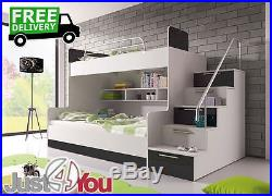 Modern Bunk Bed Without Mattresses / Storage / Childrens Kids Bedroom Eden